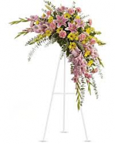 HALF MOON PINK AND YELLOW SPRAY STANDING SPRAY ON STAND