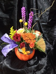 Halloween Surprise Floral in a Ceramic Pumpkin in Gainesville, FL | PRANGE'S FLORIST