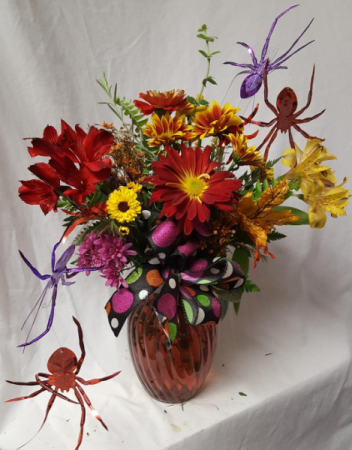 HALLOWEEN THEME ARRANGEMENT..FALL FLOWERS WITH BOW AND SPIDERS!