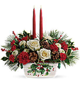 HALLS OF HOLLY CENTERPIECE in Peoria Heights, IL | The Flower Box