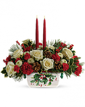 Halls Of Holly Centerpiece Arrangement in Warrington, PA | ANGEL ROSE FLORIST INC.