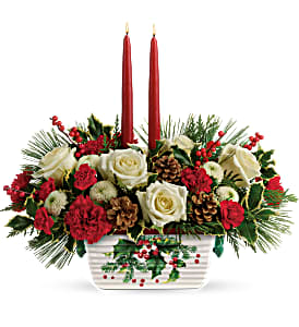 HALLS OF HOLLY CENTERPIECE CHRISTMAS
