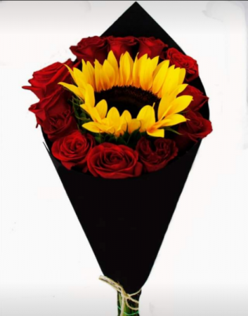 Hand bouquet with sunflower  Hand bouquet with sun flower