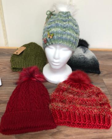 Hand knit wool hats Faux fur pom