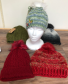 Hand knit wool hats Faux fur pom