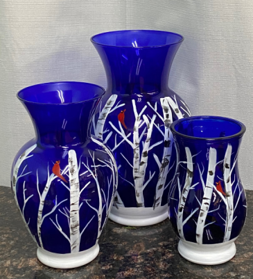 Hand Painted Blue Vases Designers choice
