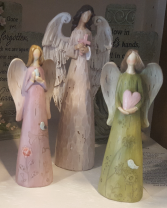 Hand painted resin angels that can be delivered  or placed in planters. large...23.00 (med Size 8