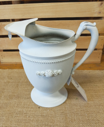 Hand Painted Silver Plated Water Pitcher/Planter
