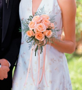 Hand-Tie Peach  Bridal Bouquet