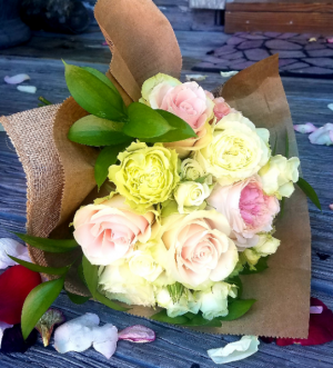 hand tied bouquet of soft roses hand tied bouquet in Key West, FL | Petals & Vines