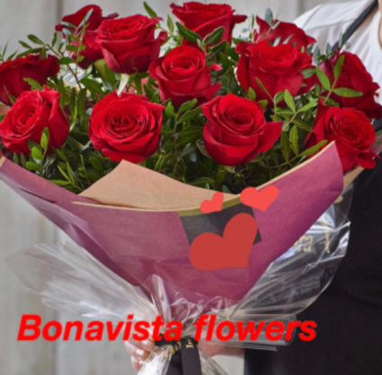 Hand tied dozen Red Roses  Cut flowers no vase