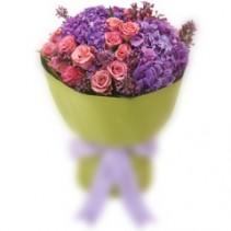 Signature hand tied Hydrangea & Roses Bouquet **EXCLUSIVE @ ARIA FLORIST**