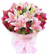 Impressive Lilies & Red Roses Bouquet