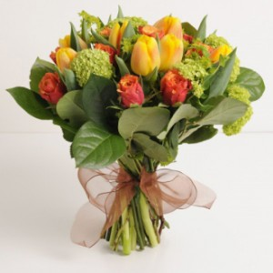 Hand Tied Orange Yellow European Hand Tied Cut Bouquet (no vase)