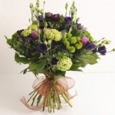 Hand Tied Purple Green European Hand Tied Cut Bouquet (no vase)
