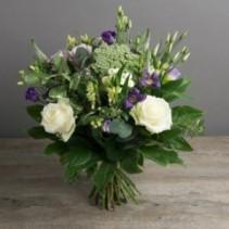 Hand Tied Purple White European Hand Tied Cut Bouquet (no vase)