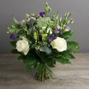 Hand Tied Purple White European Hand Tied Cut Bouquet (no vase)
