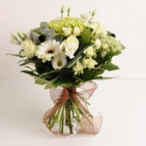 Hand Tied White Green European Hand Tied Cut Bouquet (no vase)