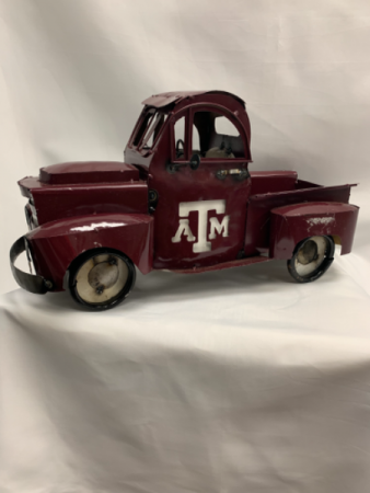 Hand Welded Metal Texas A&M Truck Add a Designer Choice Flower Arrangement