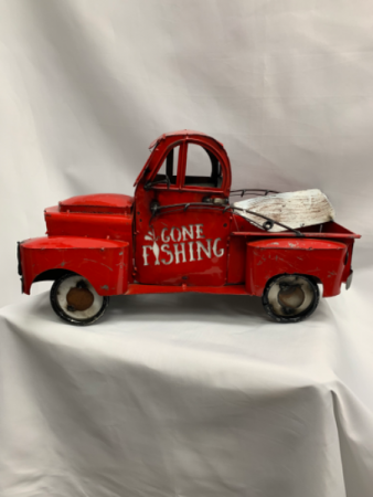 Hand Welded Metal Truck Gone Fishing