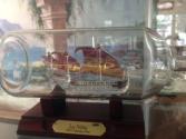 Handblown glass ship in a glass bottle