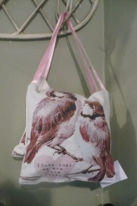 """Hanging Pillow Fabric $10.00 I Love That We Are Love Birds 5""""x11"""""""