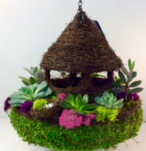 Hanging Succulent Gazebo Bird Feeder  in Troy, MI | DELLA'S MAPLE LANE FLORIST