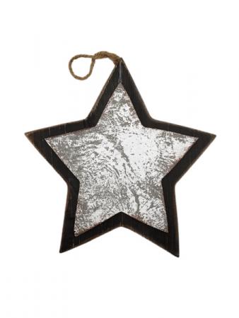 Hanging Wooden Star - Black Border