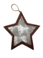 Hanging Wooden Star - Red Border