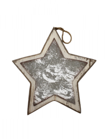 Hanging Wooden Star - White Border