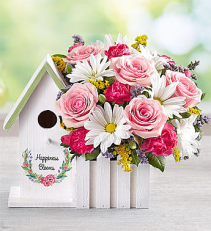 Happiness Blooms Birdhouse Flower Arrangement