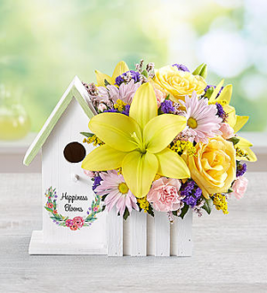 Happiness Blooms™ Birdhouse - Yellow  in Valley City, OH | HILL HAVEN FLORIST & GREENHOUSE