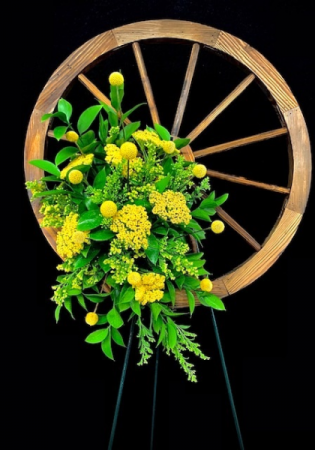 Happy Trails To You Wooden Wheel with Seasonal Floral