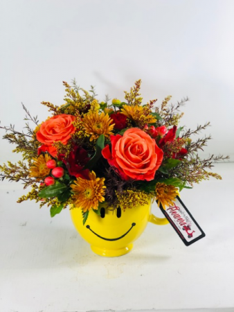 Happy About Fall Smiley Container Arrangement