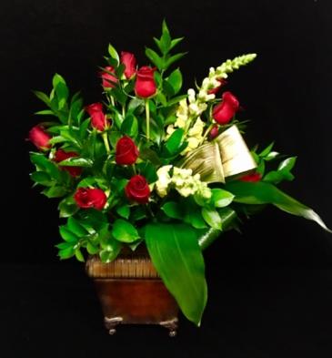 Happy Anniversary Romantic Red Rose Floral Design