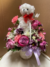Happy Bear  Small basket with mixed flowers