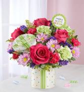 Happy Birthday Arrangement with Gift Ceramic