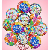 Happy Birthday Balloon Bouquet - 1 Dozen Mylar