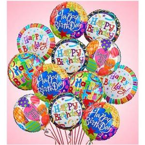 Happy Birthday Balloon Bouquet - 1 Dozen Mylar  in Arlington, TX | Erinn's Creations Florist