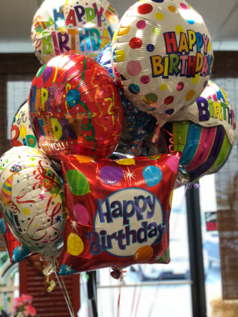 Happy Birthday Balloon Bouquet 8 Mylars Tied To Box Candy Bow
