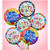 Happy Birthday Balloons 1/2 Dozen Mylar