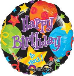 Happy Birthday Balloons Stars Mylar Balloon