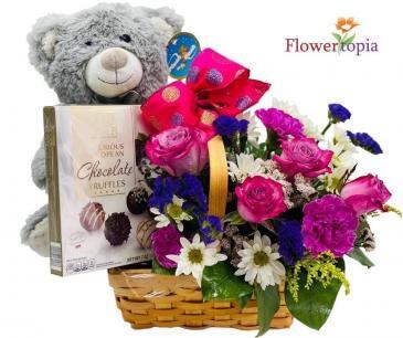 Teddy Sweet  Love Mix flower basket