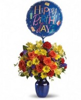 Happy Birthday Blessings Flower and Balloon Vase
