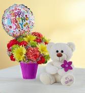 Happy Birthday Mylar Bear  Bouquet