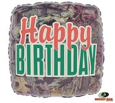 Happy Birthday Camo Mylar Balloon