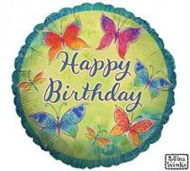 Happy Birthday Colorful Butterflies Mylar Balloon