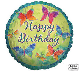 Happy Birthday Colorful Butterflies Mylar Balloon In Deming Nm