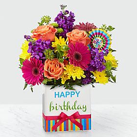 Happy Birthday!! In season spring mix bouquet in this cute ceramic Birthday container! in Magnolia, TX | ANTIQUE ROSE FLORIST