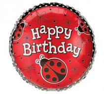 Happy Birthday Ladybugs Mylar Balloon